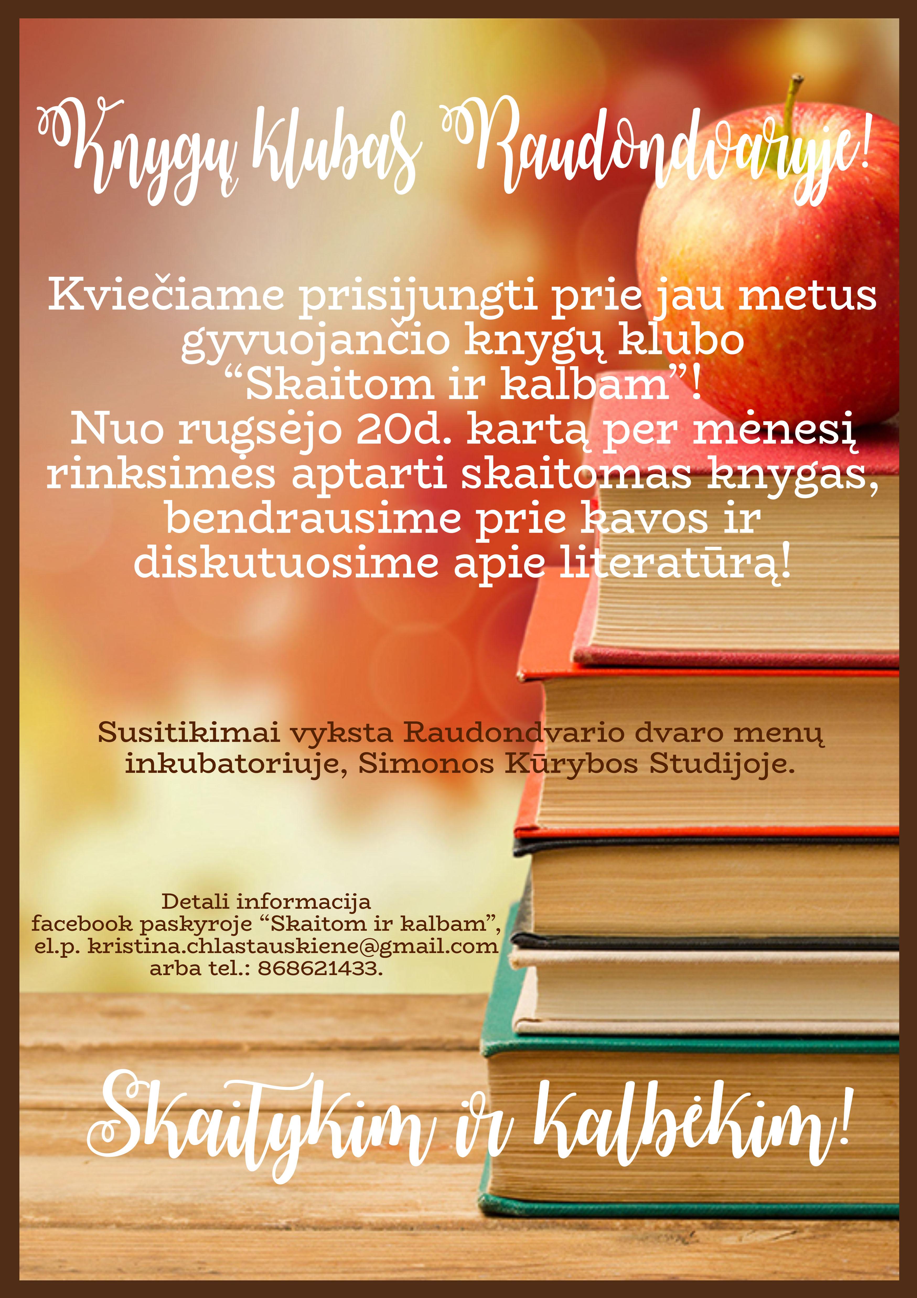 """Simonos kūrybos studija kviečia prisijungti prie knygų klubo """"Skaitom ir kalbam"""""""