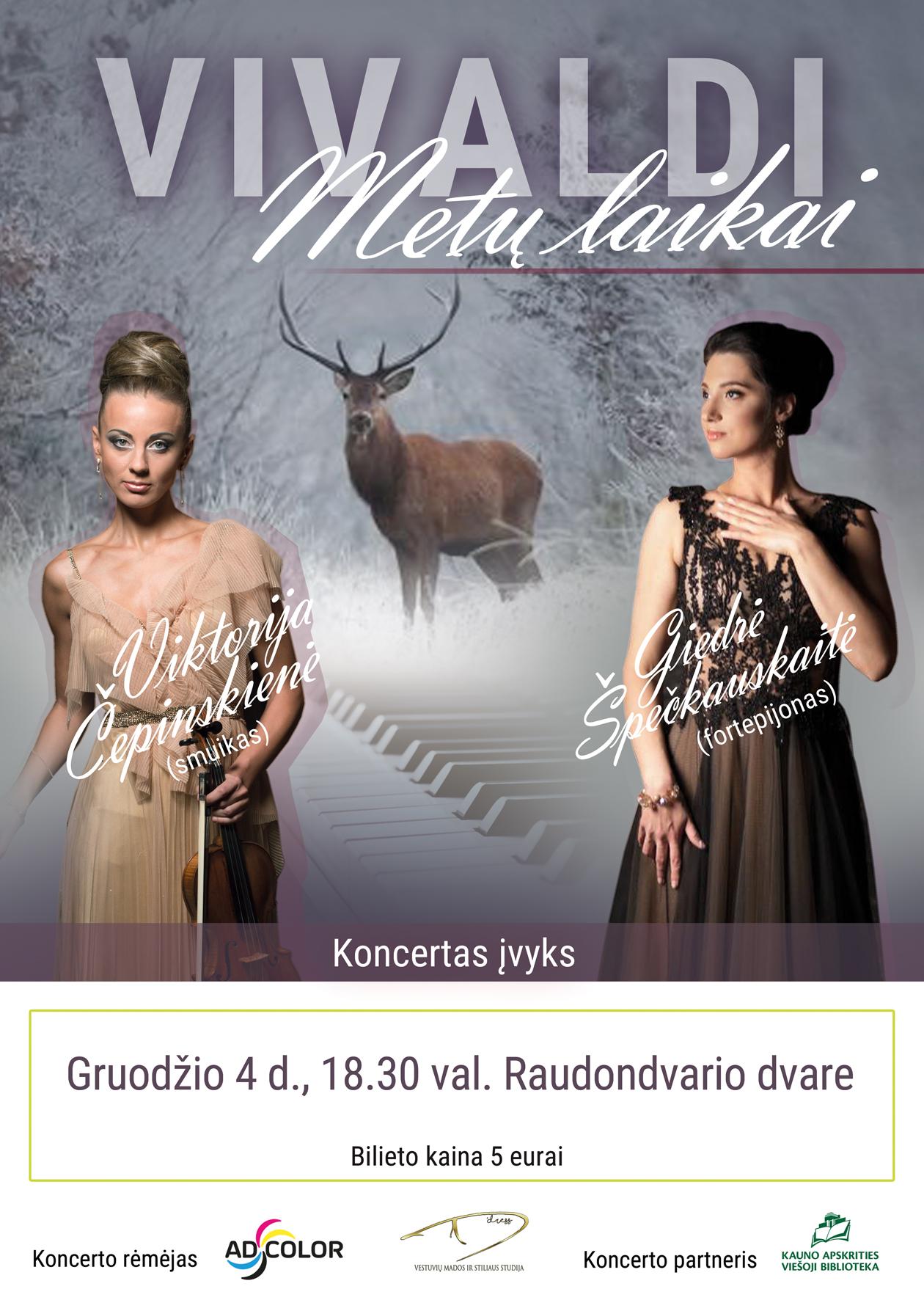 Vivaldi METŲ LAIKAI koncertas gruodžio 4 d. Raudondvario dvaro menų inkubatoriuje