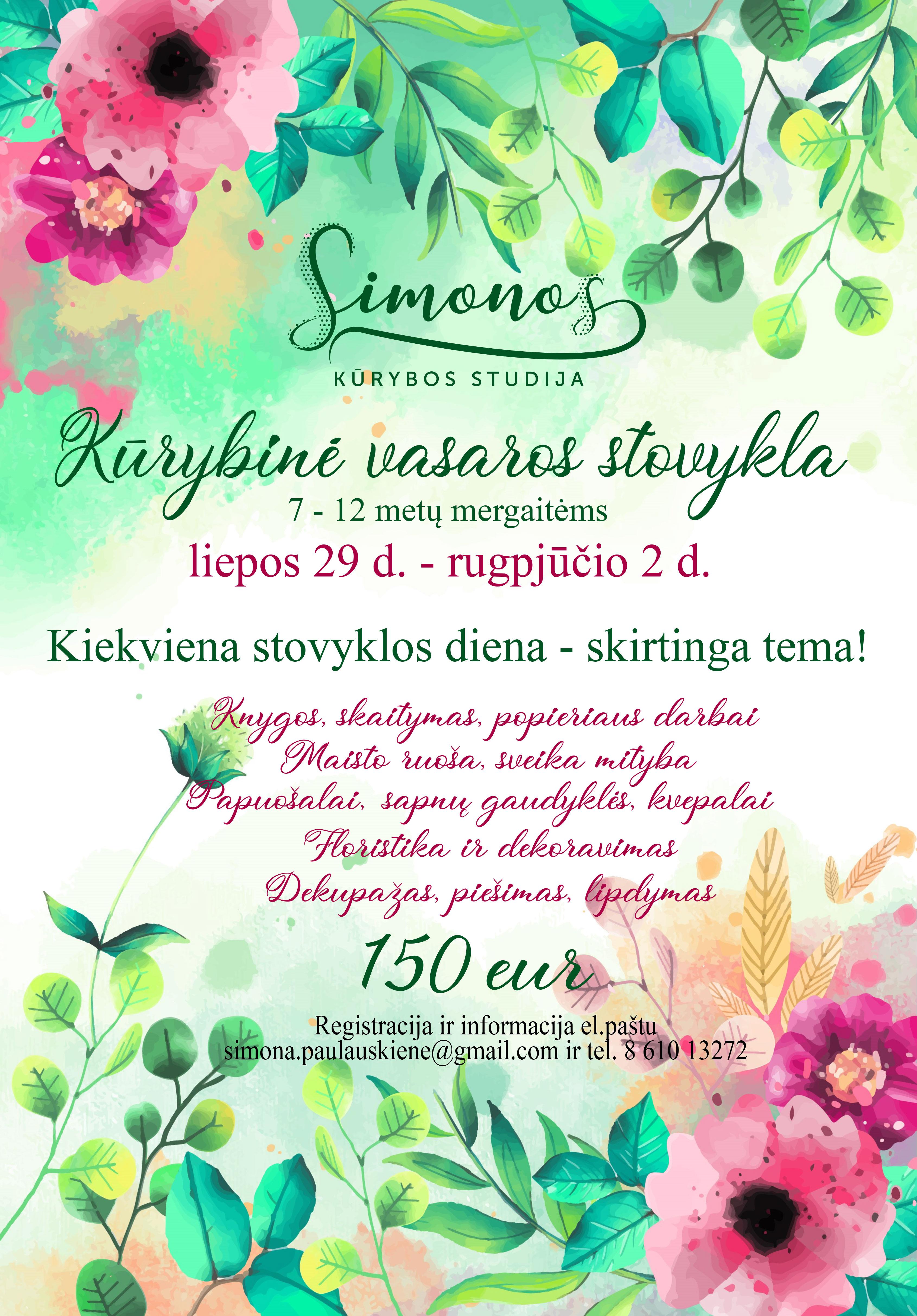 Vasaros kūrybinė stovykla mergaitėms!